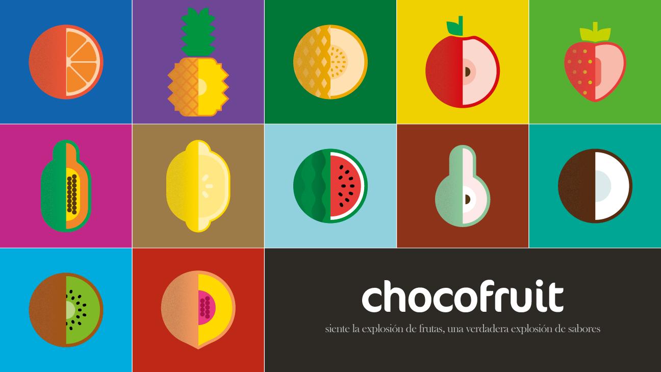 Pictogramas de frutas correspondientes a la identidad visual de Chocofruit
