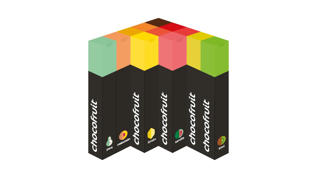 Envases de tubo mostrando los pictogramas y logo de Chocofruit