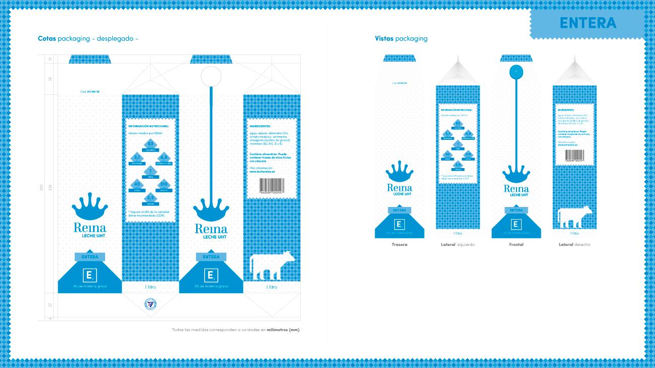 Medidas del envase de leche entera - Leche Reina