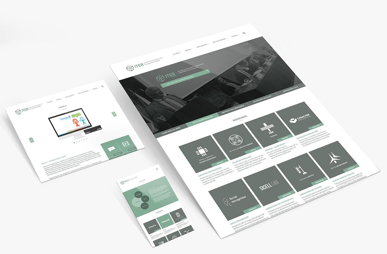 Varias pantallas de diferentes tamaños mostrando el diseño adaptado (responsive) de la página web corporativa del ITER