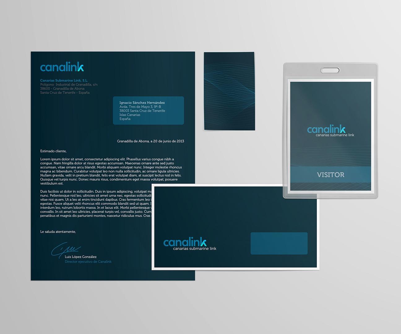 Hoja de carta, sobre e identificación de Canalink