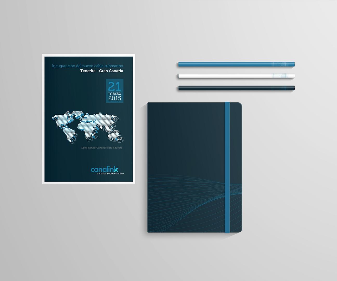 Flyer / panfleto y libreta con la identidad corporativa de Canalink