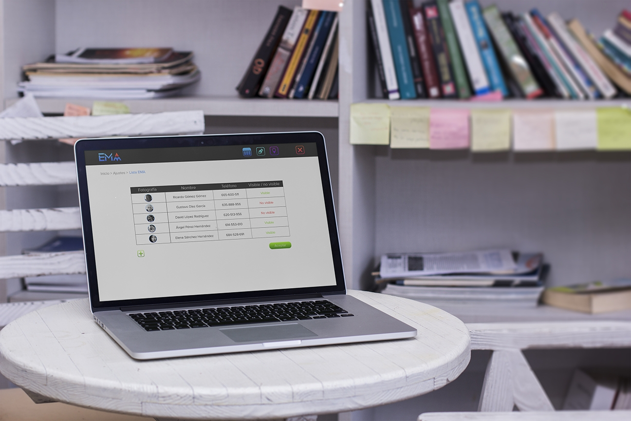 EMA - pantalla web de lista de contactos