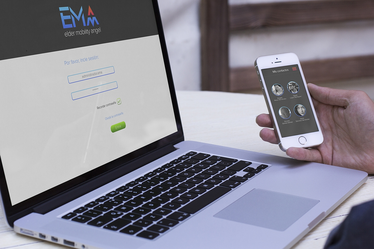 EMA - pantalla web de inicio y pantalla móvil de contactos