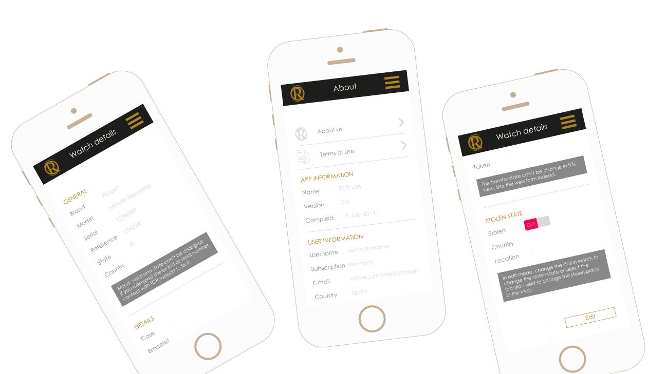 Pantallas de información de aplicación y de información de reloj de The Chrono Registry